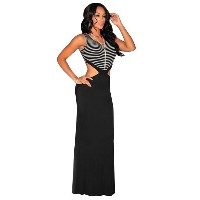 Vivid Stripe Cut-Out Black Maxi Party Dress