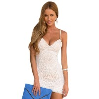 Crochet Cut V-Neck Skinny Sexy Slip Dress