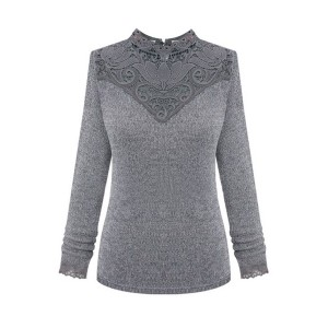 Western Solid Lace Splicing Sweaters For Women
