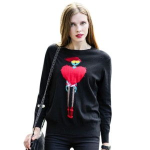 O Neck Cute Applique Soft Womens Sweater
