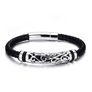 Mens Braided Genuine Leather Bracelet Bangle Stainless Steel Clasp Cloud Statement 8.5
