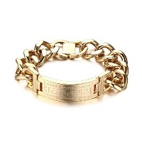 Heavy Men s Great Wall Textured Stainless Steel Bracelet for Men Gold Plated