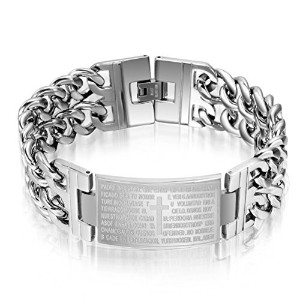 Mens Stainless Steel Bible Cross Bracelet Link Bangle Religious Christian Jesus Lord Prayer 8.9
