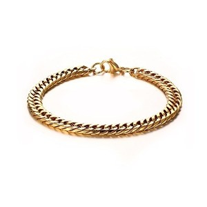 Mens Womens 18K Gold Plated Stainless Steel Curb Link Chain Bracelet Bangle Width 7mm 8.5 inch