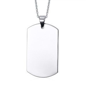 Stainless Steel Plain Dog Tag ID Pendant Necklace (Free Engraving) Free Chain 40mm Height
