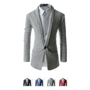 KOOLLOOK TNC18 Stylish Shawl Collar Unique Knitwear 1 Button Casual Cardigan Sweaters