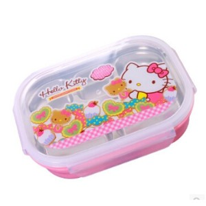 Hello kitty childrens cafeteria Dafan sub-grid cute lunch box lunch box stainless pupils
