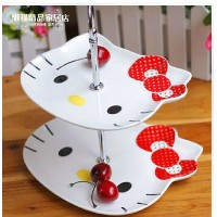 For lovely Hello Kitty Hello Kitty double ceramic candy dish dish of fruit snacks disc set