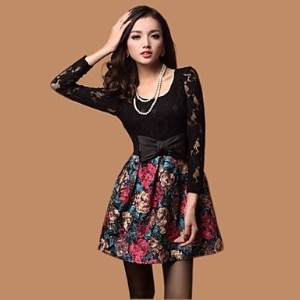 Women&#039 s Fashion Lace Patchwork Oil Painting Dress with Bowknot Belt