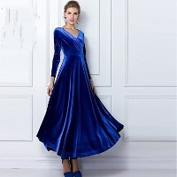 Women&#039 s V Neck Long Sleeve Pleuche Maxi Dress