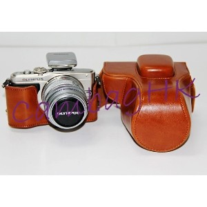 Factory Wholesale Camera PU Leather Case Pouch Bag for Olympus EPL5 EPL6 EPM2 for Zoom Lens EPL-6