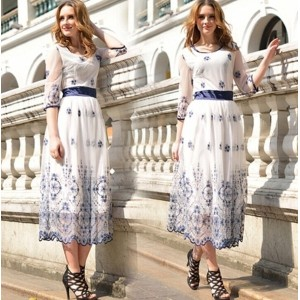 New womens classic embroidered gauze dress 00277
