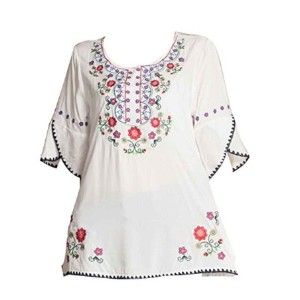 Ashir Aley Girls Embroidered Peasant Tops Mexican Bohemian Blouses-SGL14033039