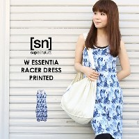 【[sn]super.natural/エスエヌ/スーパーナチュラル】/レディース/W ESSENTIAL RACER DRESS PRINTED/トップス/ロング丈TEEシャツ/カットソー...