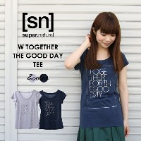 【[sn]super.natural/エスエヌ/スーパーナチュラル】/レディース/W TOGETHER FOR THE GOOD DAY TEE/トップス/TEEシャツ/カットソー/半袖/プリント...