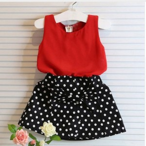 Kids Baby Girl Clothing Set Sleeveless Chiffon Summer Tops+Polka Dot Bowknot Mini Skirts