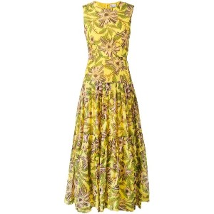 Red Valentino - floral print gathered dress - women - コットン/シルク - 42
