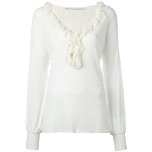 Ermanno Scervino - ruffled neck knitted blouse - women - ポリアミド/ポリエステル/ビスコース - 44