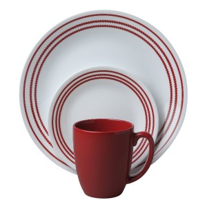 Corelle Livingware 16ピースディナーセット、ルビーレッド, Service for 4 by Corelle