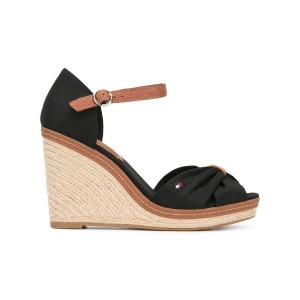 Tommy Hilfiger - crossed front wedge sandals - women - レザー/Tactel/rubber - 37