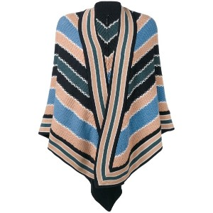 Antonia Zander - striped poncho - women - カシミア - ワンサイズ