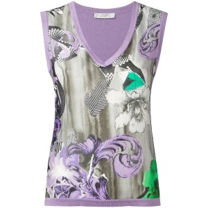Versace Collection - floral print vest - women - シルク/コットン - 40