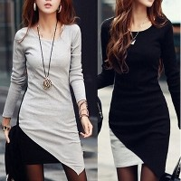 Women Round Neck Bodycon Long Sleeve Mini Dress casual dress
