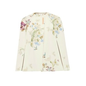 テッドベーカー レディース アウター ポンチョ【Ted Baker Zephir Spring Meadow Wool And Cashmere-Blend Cape】Ivory