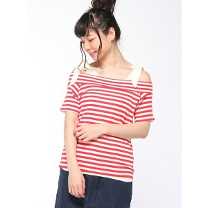 【SALE/71%OFF】NICE CLAUP OUTLET ボーダーオフショル+タンク ナイスクラップ アウトレット カットソー【RBA_S】【RBA_E】