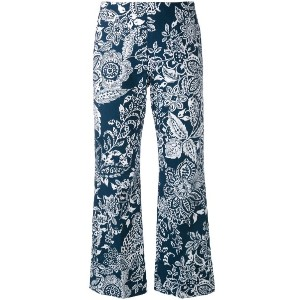 Fay - printed cropped trousers - women - コットン - 42