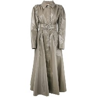 Alessandra Rich - long vinyl trench coat - women - コットン/ポリウレタン/キュプロ - 40