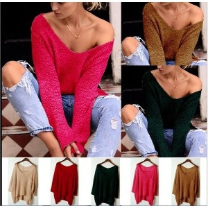 New Oversized Loose Baggy Tops Off Shoulder V-Neck Cable Knit Jumper With Pocket Long Sleeves...