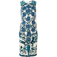 Roberto Cavalli - rose print shift dress - women - ビスコース - 40