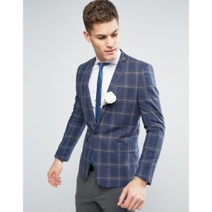 エイソス メンズ ジャケット&ブルゾン アウター ASOS WEDDING Skinny Blazer In Linen Rich Lightweight Check Blue