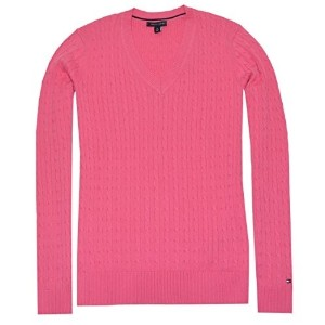 Tommy Hilfiger Women V-neck Cable Knit Logo Sweater (Small Pink)
