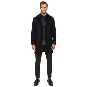 クーパース The Kooples メンズ アウター コート【Flannel Trenchcoat w/ Removable Waistcoat】Navy