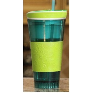 Snackeez Travel Cup Snack Drink in One Container Green/Blue by Idea Village