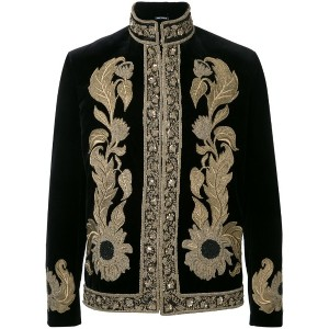 Alexander McQueen - embroidered trim jacket - men - コットン/ビスコース - 48