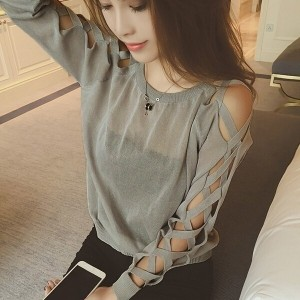 Womens Hollow Out Knitted Hooded Sweatshirt Pullover Jumpers Long Sleeve T-Shirt Tops Blouse(White...
