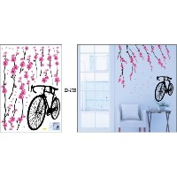 [アメリカ直送]X Large Sakura Blossoms Pink Flowers Bicycle Wall Sticker Decal Living Room Kids Room