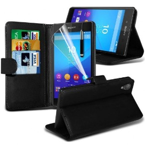 Sony Xperia Z3+ / Z3 Plus / Z4 Leather Wallet Case Cover (Black)Plus Free Gift, Screen Protector...