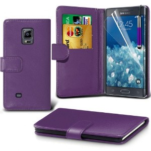 Samsung Galaxy Note Edge Leather Wallet Case Cover (Purple) Plus Free Gift, Screen Protector and a...