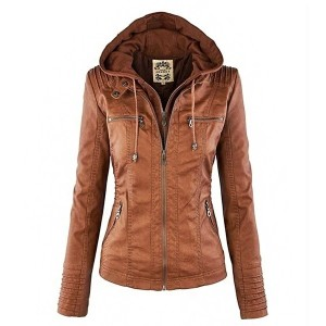 Fashion New Women Elegant Stylish Convertible Collar Leather Coat Detachable Hood Clothes Long Sleev