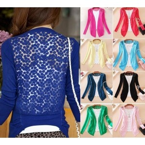 New Womens Sweet Lace Candy Crochet Knit Blouse Top Coat Cardigan Shirt Sweater