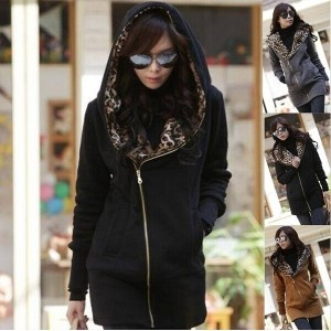 Fashion New Design Leopard Printed Hoodies Sweatshirts Women Coat