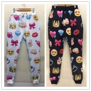 Hot 2015 New Men/women Emoji joggers pants 3d cartoon print funny sweatpants loose running sports tr