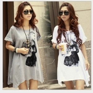 New Korean Summer fashion maternity 2 colors casual loose big yards portrait pattern short-sleeve T-