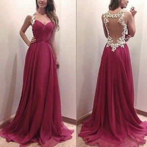 Womens Fashion NEW Sexy Sleeveless Maxi Dress Chiffon Floral Lace Backless Long Dresses Prom Gown (S