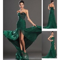 Fashion Woman New Chiffon Green Strapless Evening Party Long Dress Formal Gowns Prom dress