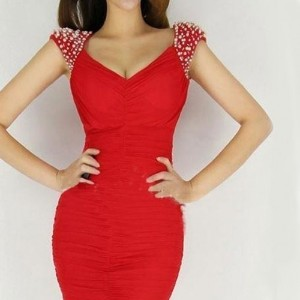 Fashioncity New Brand Hot Sexy Women Red Deep V-neck Backless Beaded Mini Dress for Party Night Club
